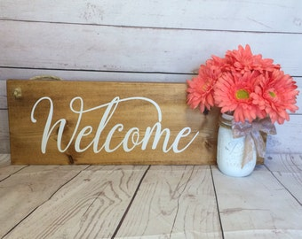 Welcome Front Door Sign With Ball Jar