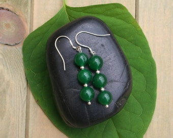 Emerald Earrings With Sterling Silver Plated Hooks