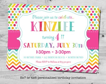 Rainbow polka dot birthday invitation - personalized with your child's name - digital / printable