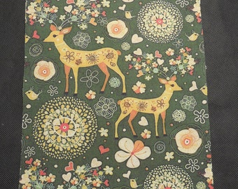 Limited Edition Deer Theme Cotton linen Fabric piece Sold by Each piece 19.8x29.5cm