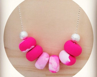 Pink Watercolour Handmade Polymer Clay Necklace