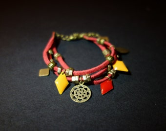 Bohemian red, mustard and bronze bracelet