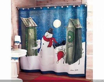 13Pc Set Snowman Winter Bath Shower Curtain And The Matching Curtain Hooks