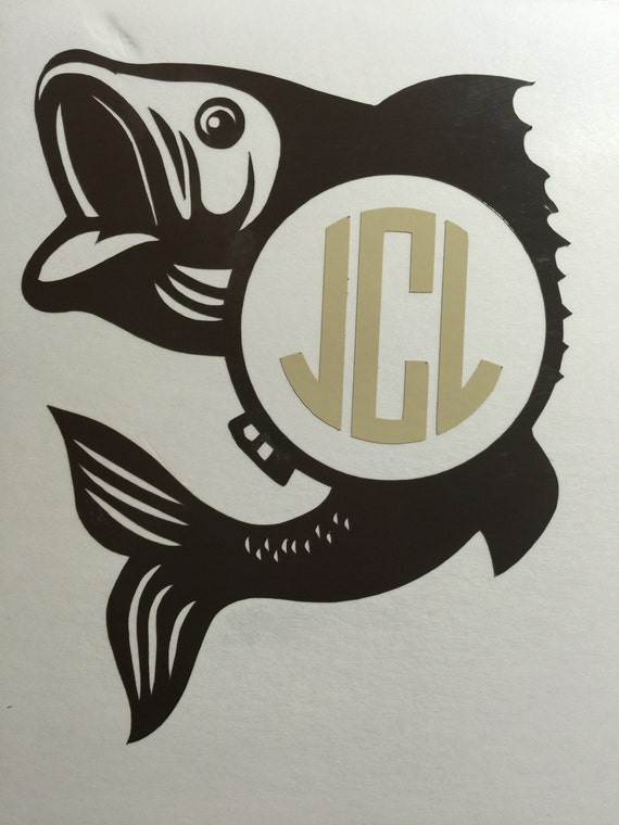 Fish monogram decal yeti decal car decal by lesuergiftcompany for Fishing yeti decal