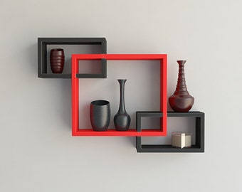 DecorNation Wall Mounted Shelf Set of 3 Floating Intersecting Storage Display Wall Shelves - Black & Red