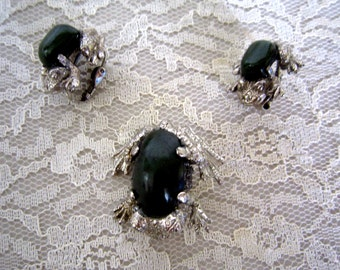 Frog pin with matching clip on earrings