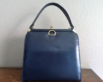 1960's Blue Leather Purse