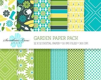 Garden Digital Scrapbook paper for instant download