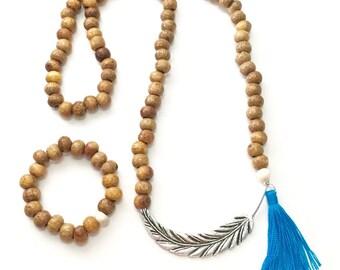 50% OFF SALE!!! Long, Necklace, Bracelet, Set, Leaf, Pendant, Bone, Beads, Tassel