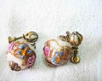 Vintage Pink Rose Venetian Wedding Cake Earrings
