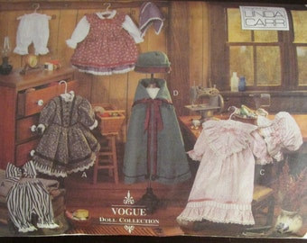 """Vogue Craft 8337 18"""" Early American Doll Clothes Sewing Pattern Linda Carr"""