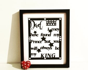 Dad/ Daddy/ Father Personalised Papercut Art - Perfect for Fathers Day