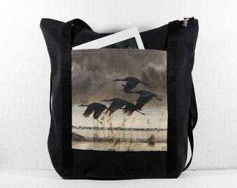 Heavy Cotton Tote with Bosque del Apache Cranes Flying Brown Photo Print