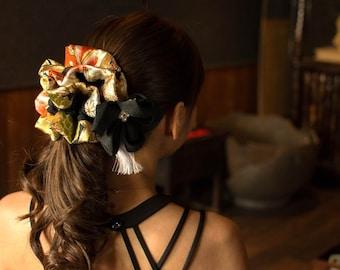 Hair accessory,Chou-Chou (scrunchie, scrunchy) and Urushi Kanzashi set Of Japan