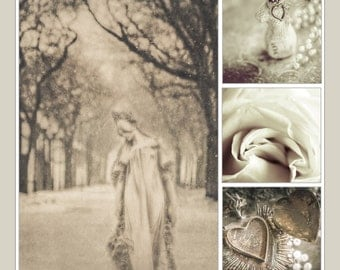 Collage of four fine art photographs in sepia tones-- Winter Mood