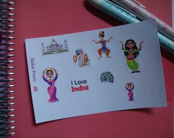 I Love India Sticker Set