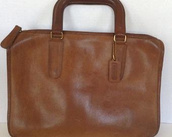 Vintage 1970s 1980s Coach Attache Satchel  / Bonnie Cashin Design / Brown