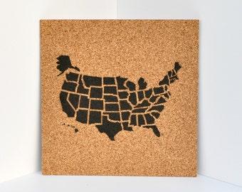 Pinnable Cork Map of the US! / Travel Corkboard / United States Pushpin Map