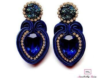 Soutache Sapphire earrings