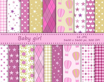 Baby girl digital paper - 18 printable jpeg papers, 3600x3600 px, 300 dpi - baby backgrounds - pink hot air balloons - pink and yellow
