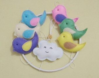 Baby Cot Crib Mobile Birds Nursery Decor