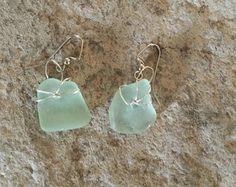 Light Blue Sea Glass earrings with 925 silver wrap