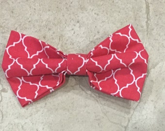 Red Moroccan Print Hair Bow