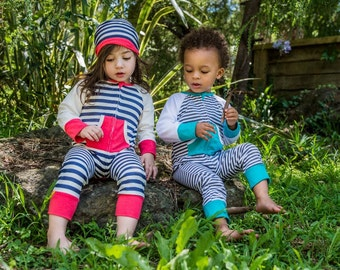 Footless stripy zip up sleepsuit/baby grow with slouch beanie