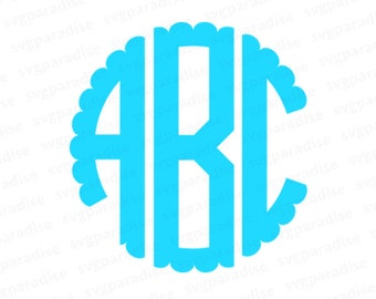 Three Letters Monogram, Scalloped Monogram SVG, Cutting File, Scalloped Alphabet SVG, Svg, Eps, Dxf, Studio3 use with Cricut & Silhouette