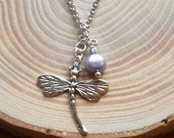 Forest Dragonfly bracelet, sterling silver rolo chain, and lilac pearl drop, lovely valentine gift, nature outdoors gift