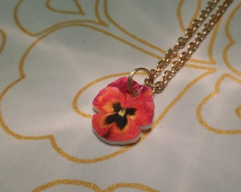 Unique hand-drawn violet flower, Necklace with chain Gift-wrapped