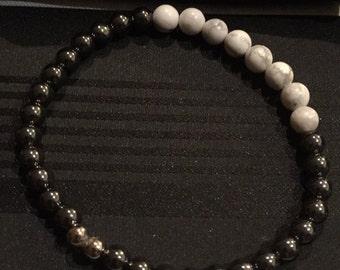 Hematite Grey and white natural gemstone beaded bracelet
