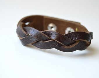 Women's Braided Leather Cuff:  Genuine Leather Brown Magic Braided Leather Bracelet