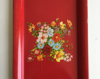 vintage tin floral tray