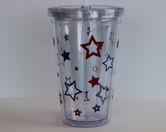 Stars Tumbler // 4th of July // Red White and Blue // Patriotic
