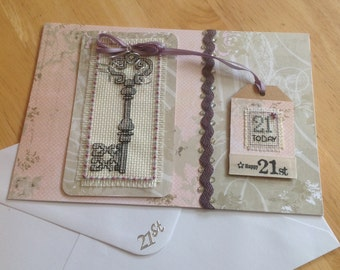 Completed cross stitch card Happy 21st Birthday