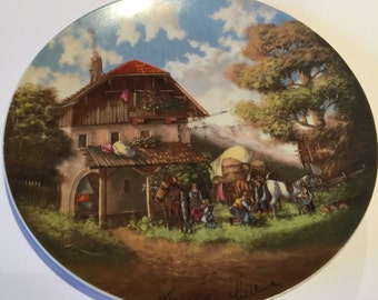 Collectors Plate, The Blacksmith, Limited Edition, Christian Luckel, Christian Seltmann, Idyllic Village Collection