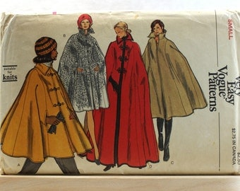 Very Easy Vogue Patterns 1970's Vintage Cloak #8416 Size Small - Uncut