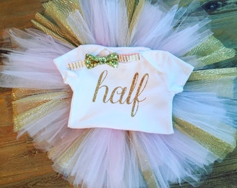 Birthday Outfit, Half Birthday Outfit, Bodysuit and Tutu, 1/2 Birthday Outfit, Half Birthday Tutu, Birthday Tutu, Princess Outfit