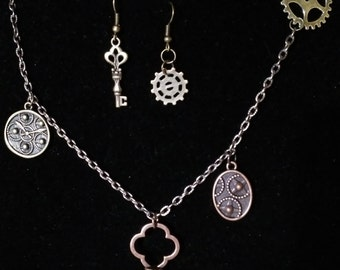 Steam Punk Pendant with Earrings  #23