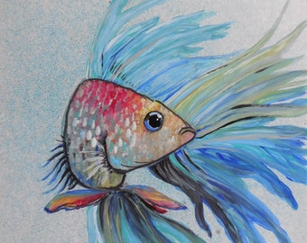 Beta Fish - Mixed Media on Board 6x6