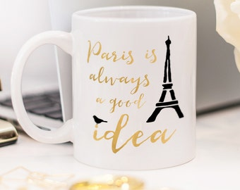 Paris mug, gift for someone who likes traveling