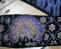 Vintage original 60s Zardozi metallic gold wire/thread black velvet/silk satin embroidered peacock & floral belt (hand made in India) sz: SM
