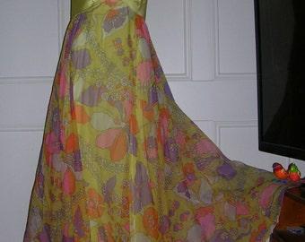 vintage 1960's flower power satin & chiffon maxi bow dress by Bullocks Wilshire size: 8