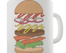 Hamburger Ingredients Ceramic Novelty Mug