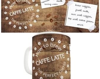 How To Brew Caffe Latte Ceramic Tea Mug