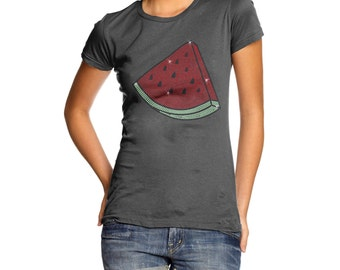 Women's Watermelon Slice Rhinestone Diamante T-Shirt