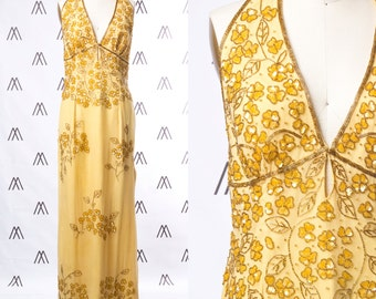 1970s Golden Floral Halterneck Backless Gown with Beaded Trim