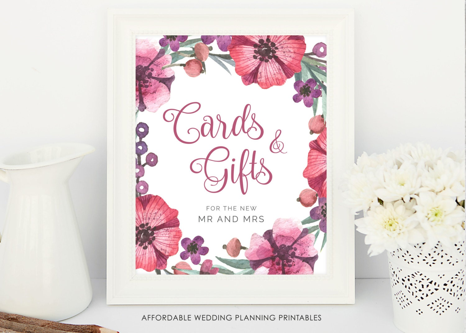 Wedding Gift Vouchers: Cards And Gifts Wedding Sign Floral Wedding Printable Gift