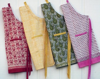Wood-block printed adjustable aprons